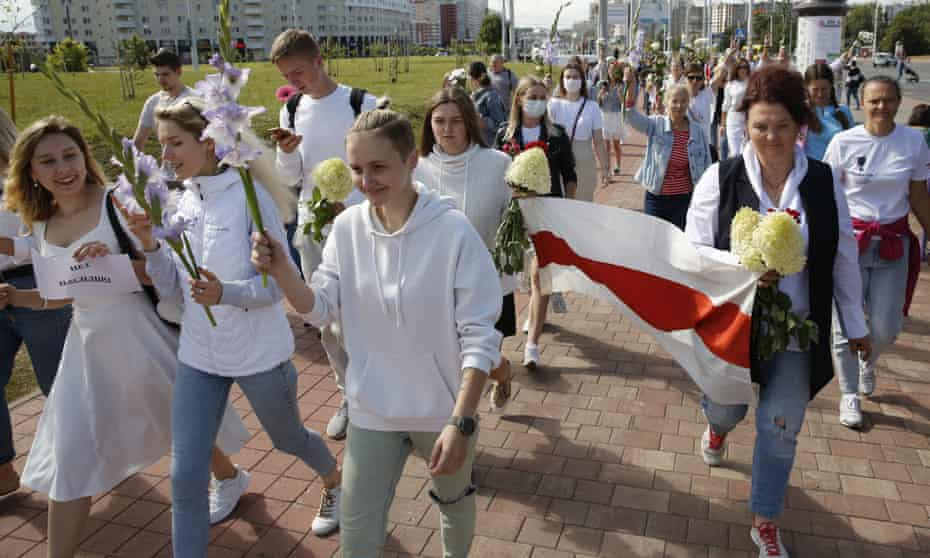 A rally in Minsk on Thursday in support of detained protesters.