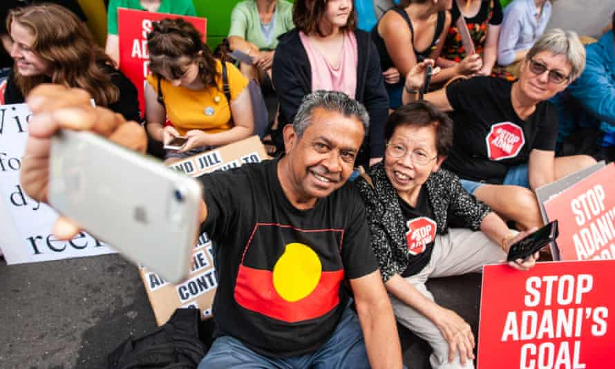 James Williams and Audrey Cooke at the Stop Adani rally.