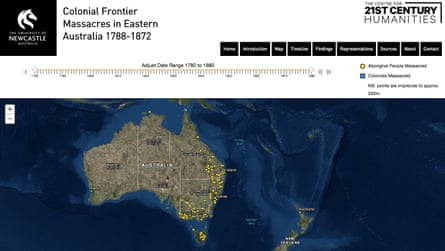 Researchers from the University of Newcastle, Australia, have created an interactive map of more than 150 massacres of Aboriginal and Torres Strait Islander peoples in an effort to boost public understanding of the Frontier Wars