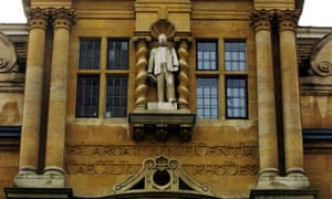 Cecil Rhodes statue in Oriel College at Oxford. The college released a statement saying it 'does not share Cecil Rhodes's values or condone his racist views or actions'.