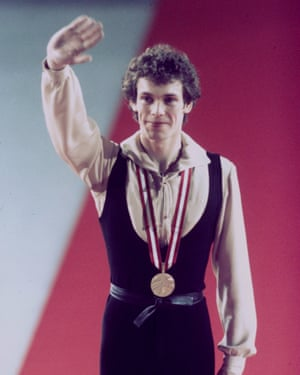 John Curry waves to the crowd after winning the gold medal at the 1976 Olympics in Innsbruck.