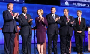 The Republican candidates during the CNBC debate.