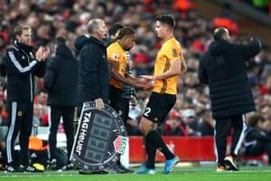 Leander Dendoncker of Wolverhampton Wanderers is replaced by Adama Traore.
