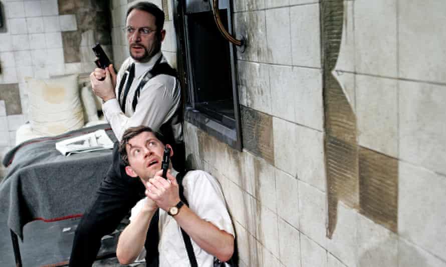 Jason Issacs and Lee Evans in The Dumb Waiter at Trafalgar Studios in 2007.
