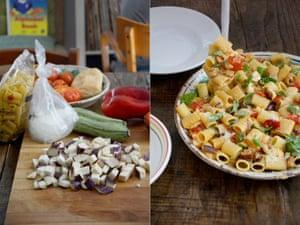 Rachel Roddy's mezze maniche with summer vegetables.