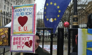 Anti-Brexit protesters stage a protest after Britain formally invoked Article 50 to start the process of withdrawal from the EU.