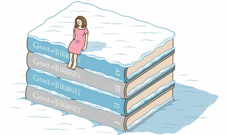 Woman sitting on pile of books in the snow