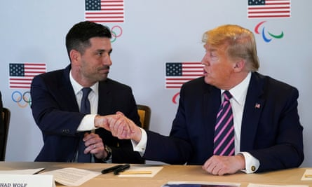 Trump in February with Chad Wolf, the acting homeland security chief. Wolf reportedly told Murphy the Russian assessment should be 'held … [because it] made the president look bad.'