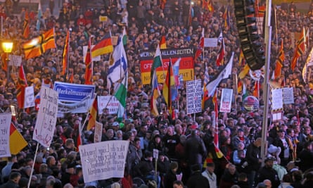 Pegida's first anniversary rally in Dresden, Germany.
