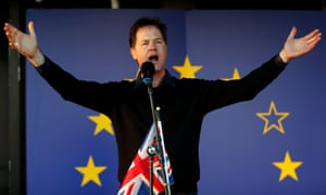 Nick Clegg speaks at the Unite for Europe rally in central London.