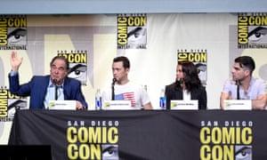 Oliver Stone, actors Joseph Gordon-Levitt, Shailene Woodley, and Zachary Quinto attend the Snowden panel at Comic-Con.