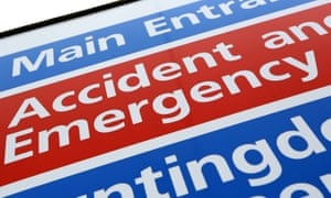 Accident and emergency sign in a hospital