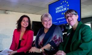 Liberal Democrat Heidi Allen, Lib Dem president Sal Brinton and Green Party MEP Molly Scott Cato at the launch of Unite to Remain