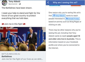 Tony Abbott used 'Donald Trump' as a Facebook ad targeting category, according to a reader submission