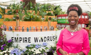 Floella Benjamin at the Windrush garden at the RHS Chelsea Flower Show