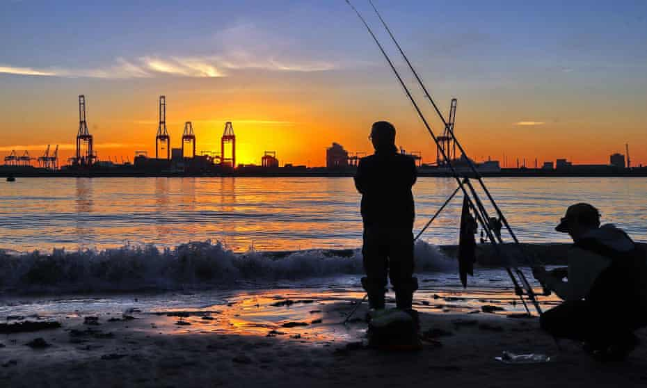 Anglers on the Wirral in Merseyside