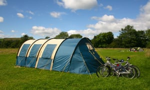 Bikes parked outside at tent at Holme Open Farm, Sedbergh, Cumbria