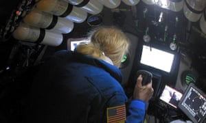 Undersea explorer Victor Vescovo pilots the submarine DSV Limiting Factor in the Pacific Ocean's Mariana Trench.