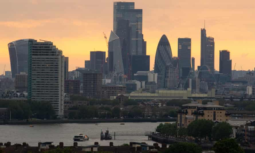 The London skyline at sunset as seen from Greenwich Park.