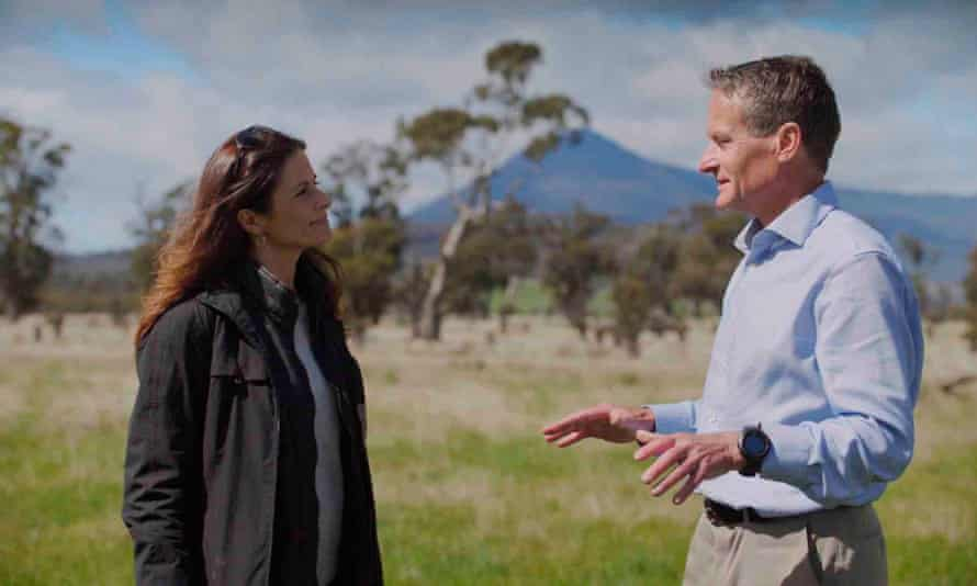 Livia Firth and Sebastian Burgess, director of conservation at Greening Australia in Tasmania