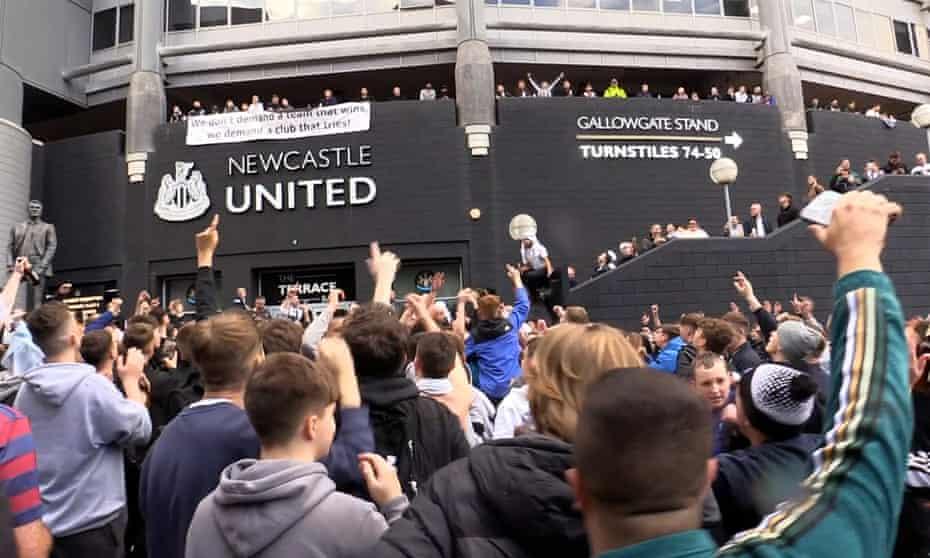 Fans gather outside St James' Park, Newcastle