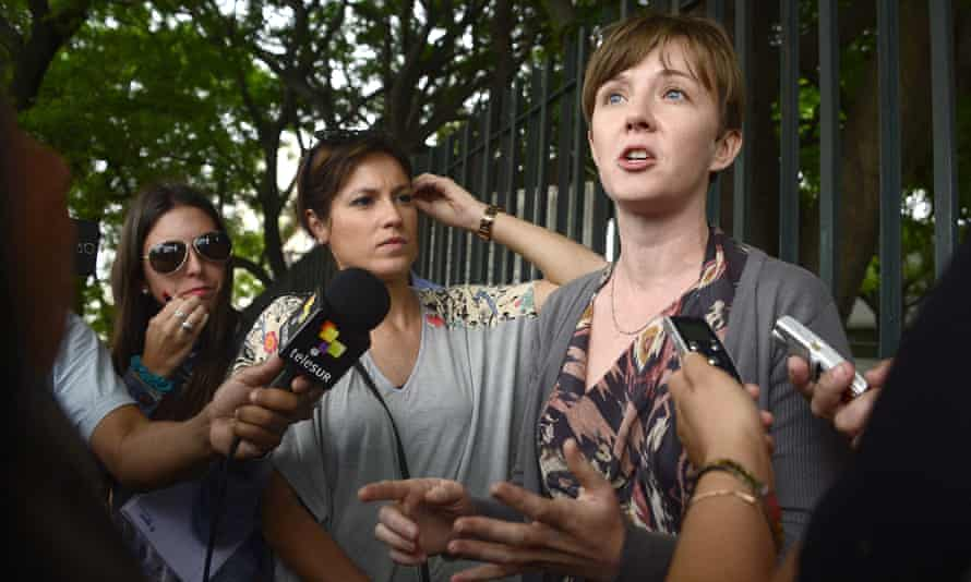 'I'm really interested in power': Cori Crider talking to reporters in Montevideo in 2014 when she represented Guantanamo prisoners.