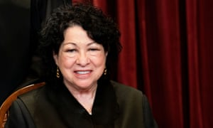 Justice Sonia Sotomayor poses during a group photo in Washington DC, in April.
