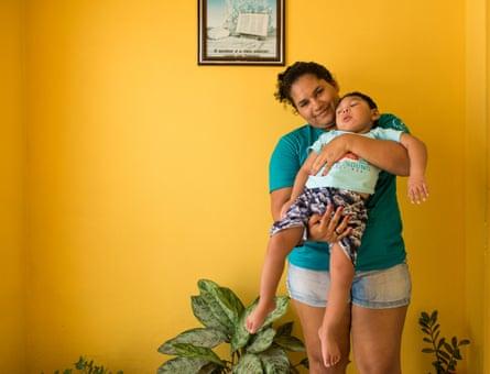Jaqueline Vieira, 27, with her son Daniel