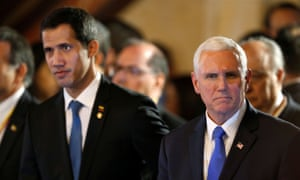 Pence with Juan Guaidó at the summit in Bogota. Pence said: 'Nicolás Maduro is a usurper with no legitimate claim to power, and Nicolas Maduro must go.'