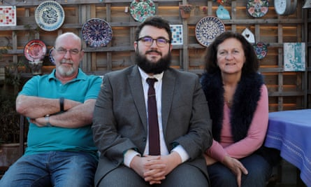 Tom Kirkum living with his parents, Margaret and Robin at their home near Sidcup, Kent.