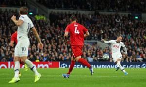 Tottenham Hotspur's Christian Eriksen shoots at goal but fails to find the target.