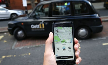 Smartphone showing Uber app