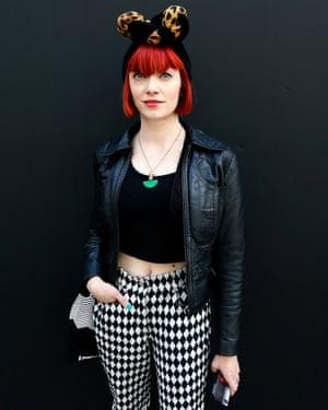 Fashion historian and writer Amber Jane Butchart at London Fashion Week
