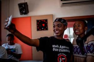 Sithembile Daza and Michelle Selemela take a selfie in the studio