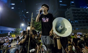 Joshua Wong addresses pro-democracy protesters during the umbrella revolution in 2014.