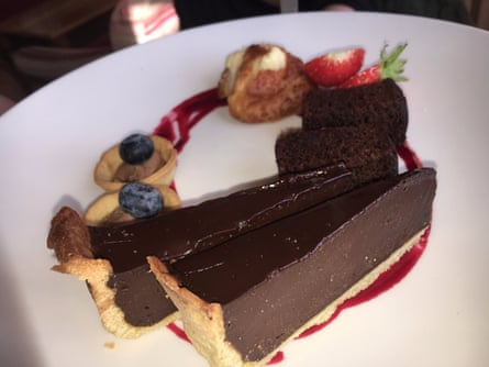 Chocolate tart at The Mullion Cove hotel, Lizard – the loveliest hotel, where I plan to spend retirement.
