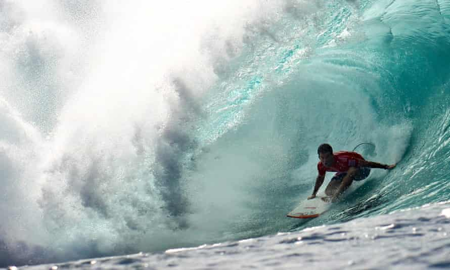Surfing Pipe Masters at Pipeline, Oahu, Hawaii.