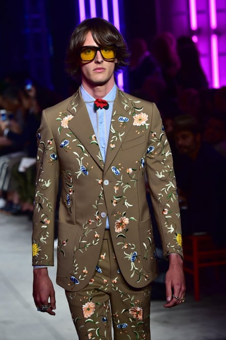 A model presents a creation for fashion house Gucci at Milan fashion week on Monday