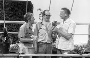 The BBC gardening presenter Percy Thrower helps the comedy duo with their pot plants