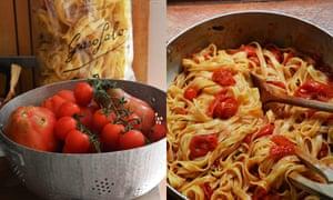 tagliatelle with bursting tomatoes