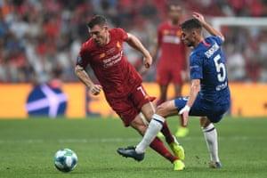 Jorginho in action with Milner.