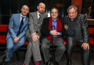 Reese Shearsmith, Sean Foley, Ronald Harwood and Ken Stott at the press night party for The Dresser in 2016.