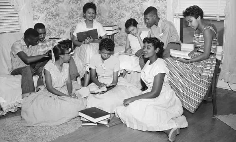 The Little Rock Nine form a study group after being prevented from entering Little Rock's Central High School.