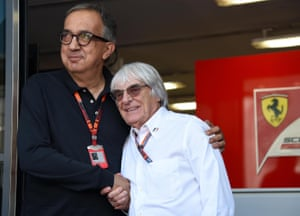Ferrari president Sergio Marchionne (L) shakes hands Formula One boss Bernie Ecclestone at the Formula One circuit in Monza, Italy, 6 September 2015 (reissued 25 July 2018). According to reports, Marchionne died on 25 July 2018 in a Zurich hospital following a surgery and suffering complications EPA/DANIEL DAL ZENNARO *** Local Caption *** 52192199