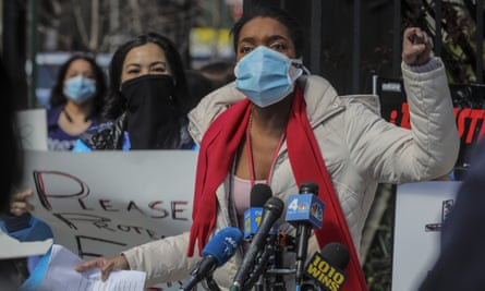 Patricia Armand, an anesthesia nurse at Montefiore medical center, speak during an 'urgent community speak out' and press conference, demanding N95s and other personal protective equipment on Thursday.