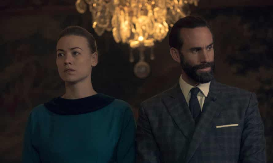 With Yvonne Strahovski in The Handmaid's Tale.
