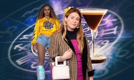 Composite photoshop of various 2010 ephemera, astrology, Caroline Calloway, Beyonce and an espresso martini