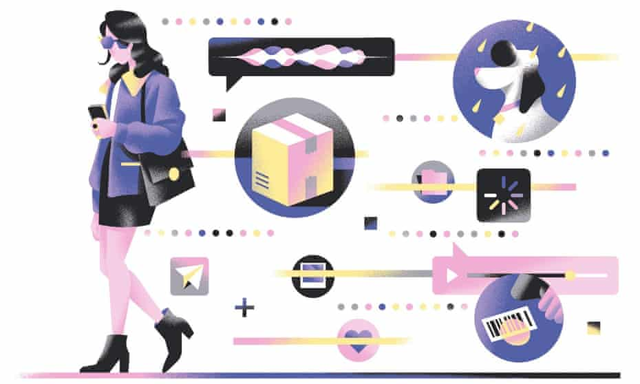 Illustration of woman walking holding smartphone trailing images of all the things she has to do