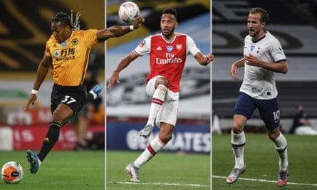 Wolves's Adama Traoré, Pierre-Emerick Aubameyang of Arsenal and Tottenham's Harry Kane. Composite: Jim Powell.
