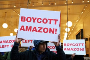 A protest in front of an Amazon store in Queens.